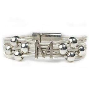 Personalized white leather bracelet initial M