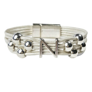 White Leather Bracelet Initial N
