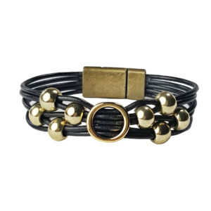 Black Leather Bracelet Initial O gold