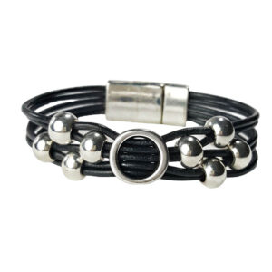 Black Leather Bracelet Initial O silver