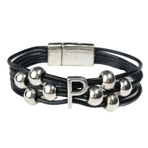 Black Leather Bracelet Initial P silver
