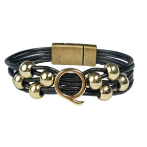 Black Leather Bracelet Gold Initial Q