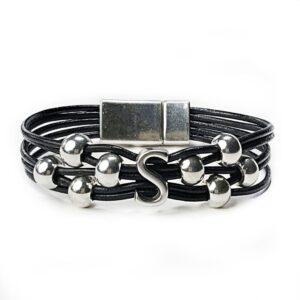 Black Leather Bracelet Silver Initial S
