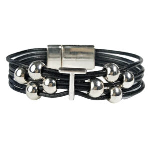 Black Leather Bracelet Silver Initial T