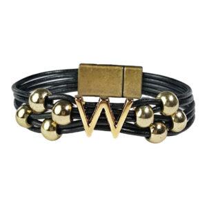 Black Leather Bracelet Gold Initial W