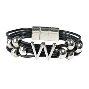 Black Leather Bracelet Silver Initial W