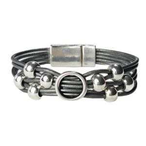 Grey Leather Bracelet Initial O silver