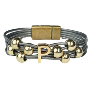 Grey Leather Bracelet Initial P gold