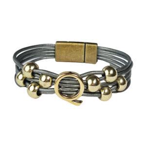 Grey Leather Bracelet Gold Initial Q