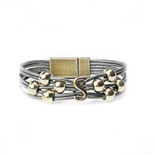 Grey Leather Bracelet Gold Initial S