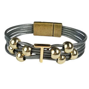 Grey Leather Bracelet Gold Initial T