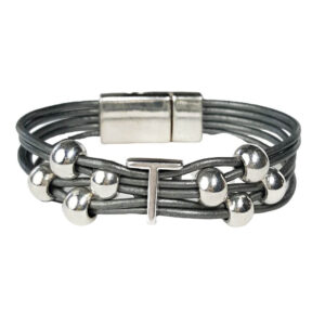 Grey Leather Bracelet Silver Initial T