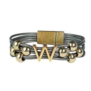 Grey Leather Bracelet Gold Initial W