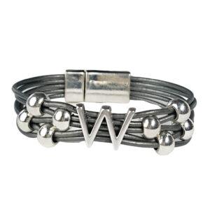 Grey Leather Bracelet Silver Initial W