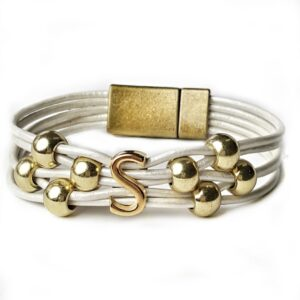 White Leather Bracelet Gold Initial S