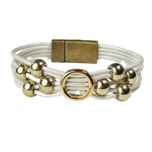 White Leather Bracelet Initial O gold