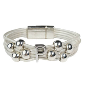 White Leather Bracelet Silver Initial P