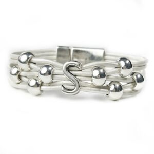 White Leather Bracelet Silver Initial S