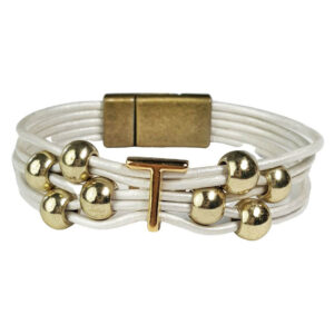 White Leather Bracelet Gold Initial T