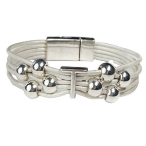 White Leather Bracelet Silver Initial T
