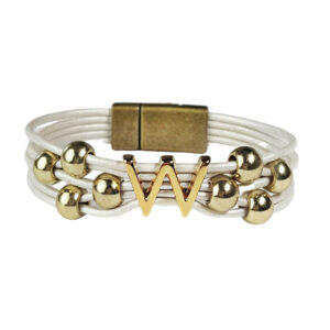 White Leather Bracelet Gold Initial W