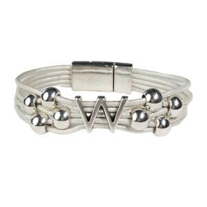 White Leather Bracelet Silver Initial W