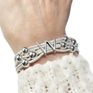White Leather Bracelet Silver Initial W on wrist