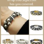 Graphic of Initial J Bracelet in six different colors