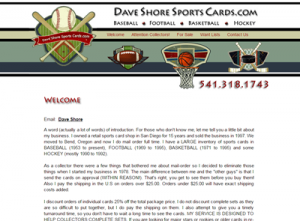 Dave Shore Sports Cards