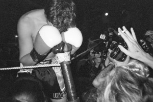 Boxer celebrating a win after underground fight at (FNT) Fight Series by Canaan Albright