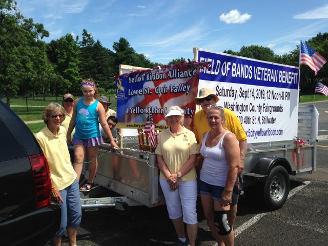 Lumber Jack Day Parade float 2019-Volunteers promoting Fundraising Event