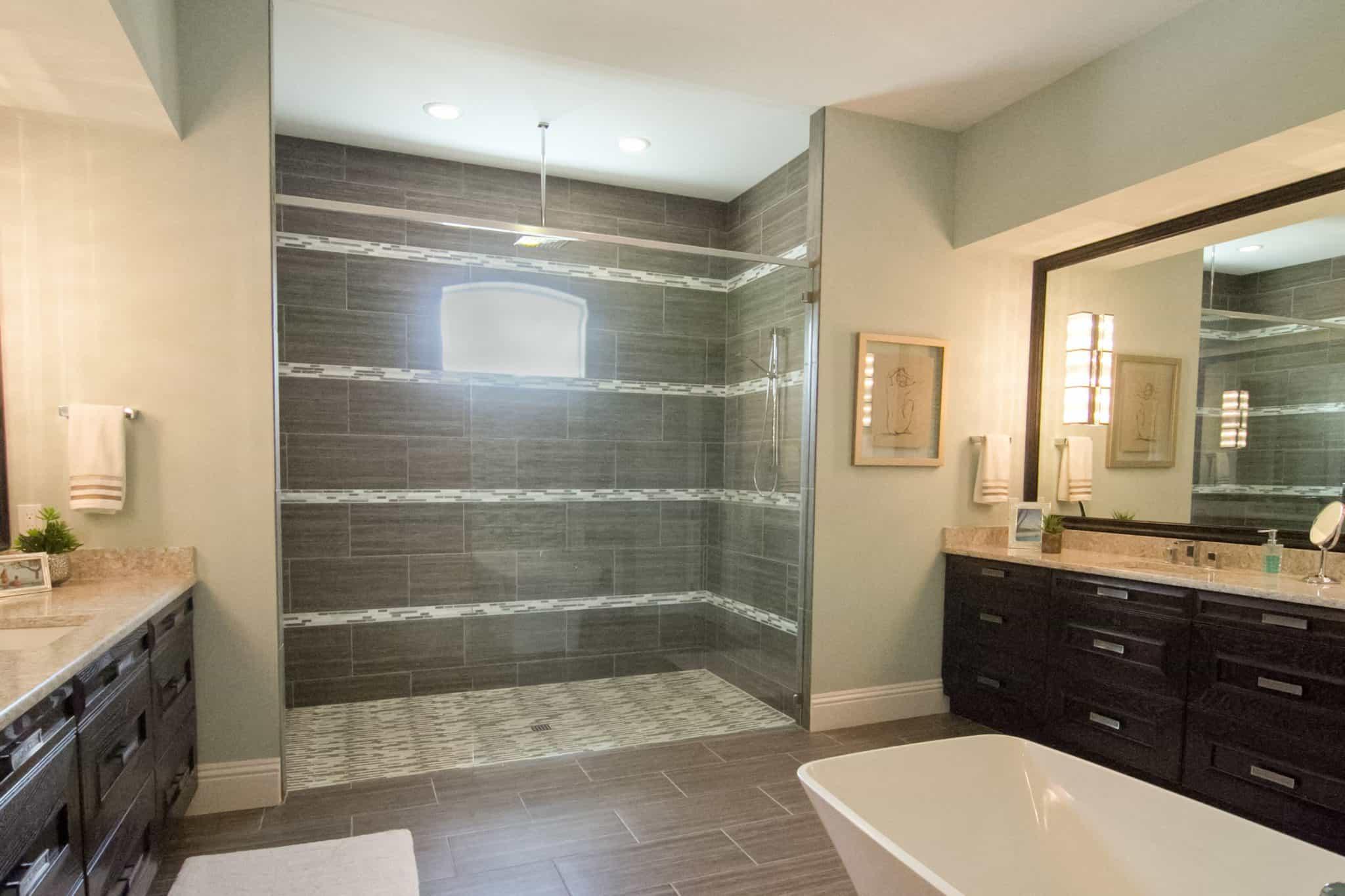 large bathroom with dark wood cabinets