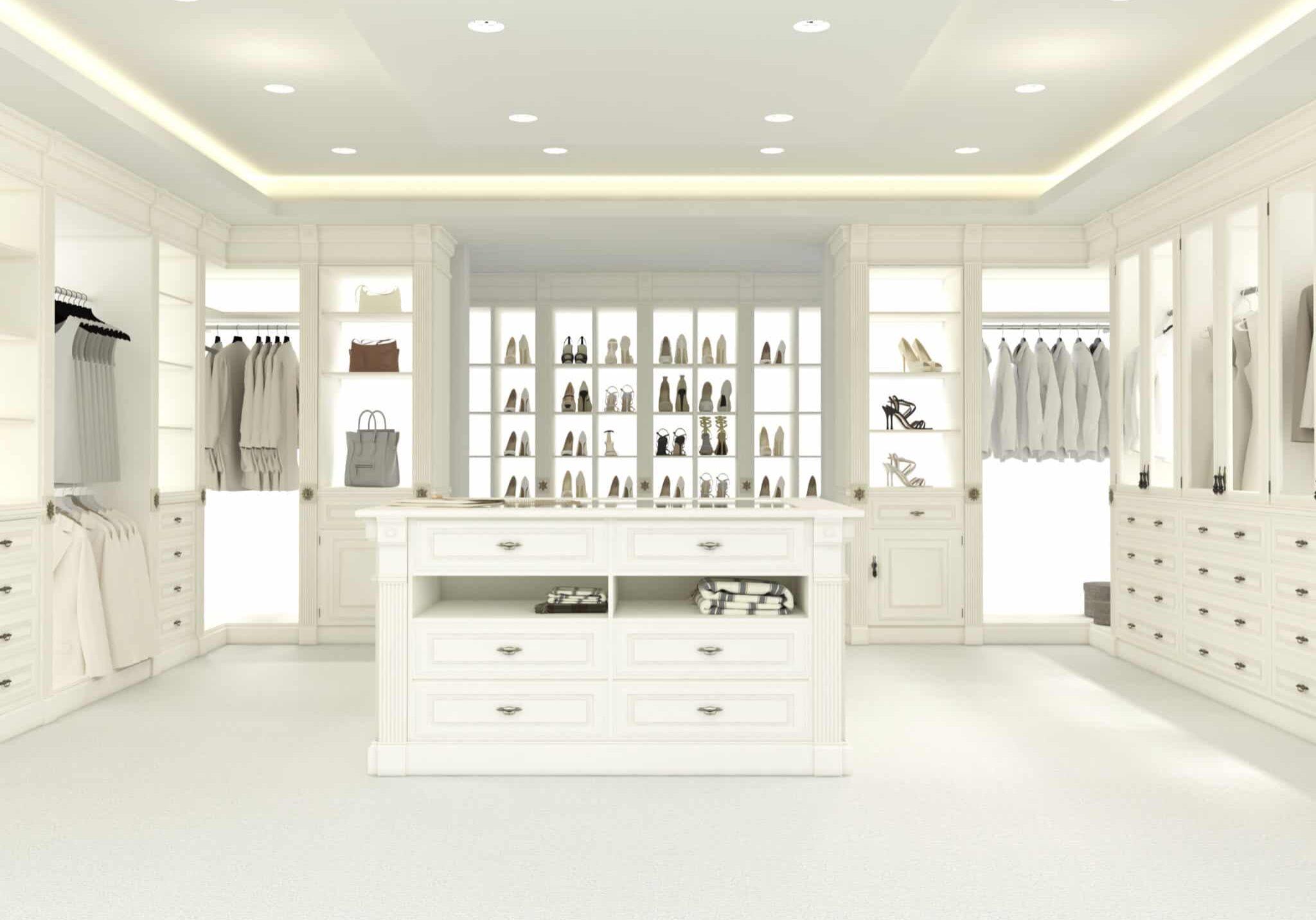 large white walk-in closet
