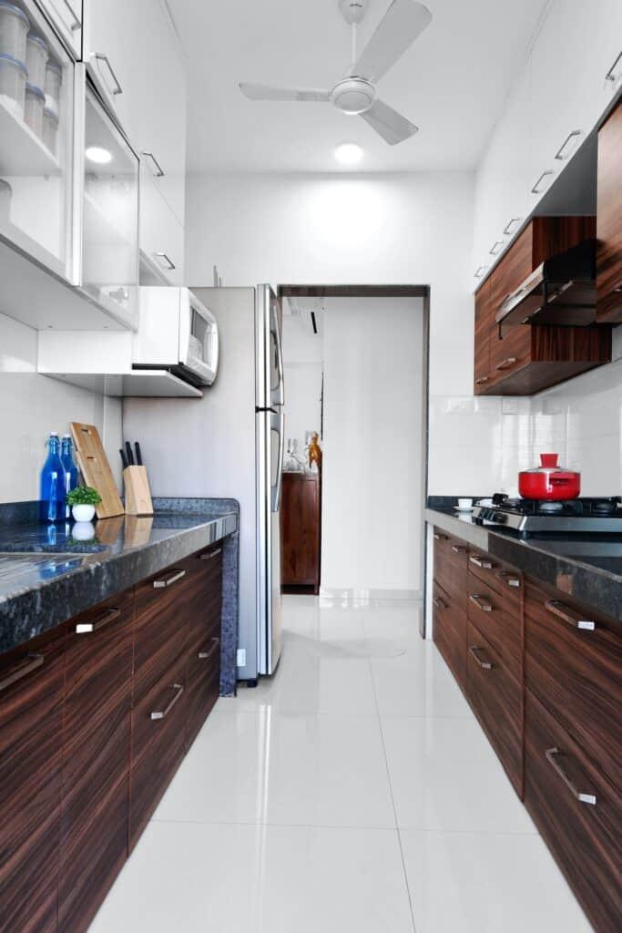 A modern galley kitchen design