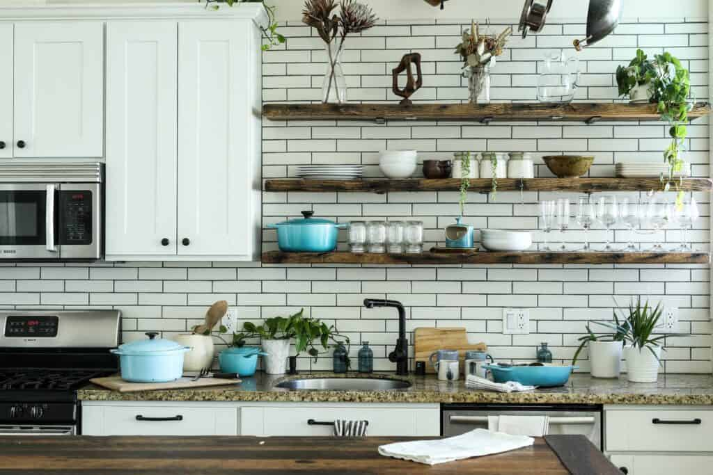 open shelving in a kitchen design