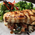 Bacon, Goat Cheese & Basil Stuffed Chicken Breasts with Balsamic Glaze