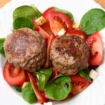 Spicy Lamb Meatballs with Spinach and Tomato Salad