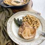 Tuscan Pork Chops with White Beans and Crispy Sage