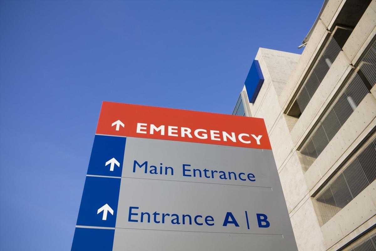 Modern hospital and emergency sign