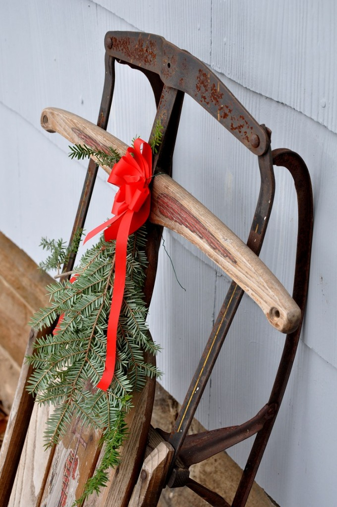 decorated Christmas sled