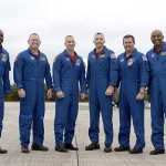From left are Mission Specialist Leland Melvin; Pilot Barry E. Wilmore; Commander Charles O. Hobaugh; and Mission Specialists Randy Bresnik, Mike Foreman and Robert L. Satcher Jr. Photo credit: NASA/Kim Shiflett