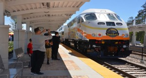 Guests boarded and toured SunRail during the preview celebration for the Sand Lake Road station. (Photo: Orange County government)