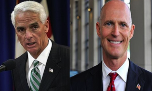 Former Gov. Charlie Crist (l) and Gov. Rick Scott (r)