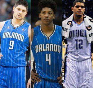 l-r: Orlando Magic's Nikola Vucevic, Elfrid Payton & Tobias Harris