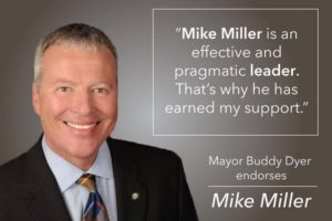 Republican campaign materials spotlight Dyer's support for Central Florida conservative Mike Miller over the Democratic challenger.