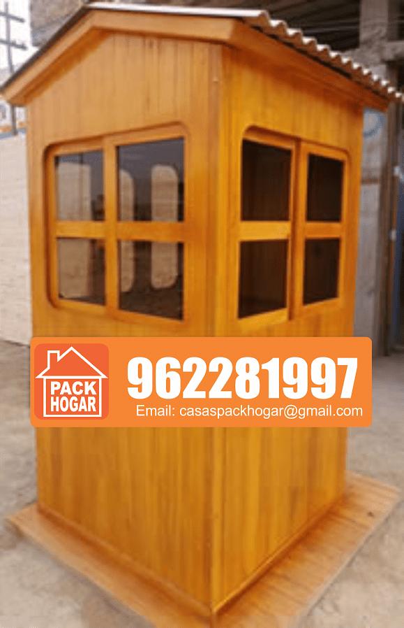 casetas de vigilancia y seguridad prefabricada de madera/acabado barniz marino