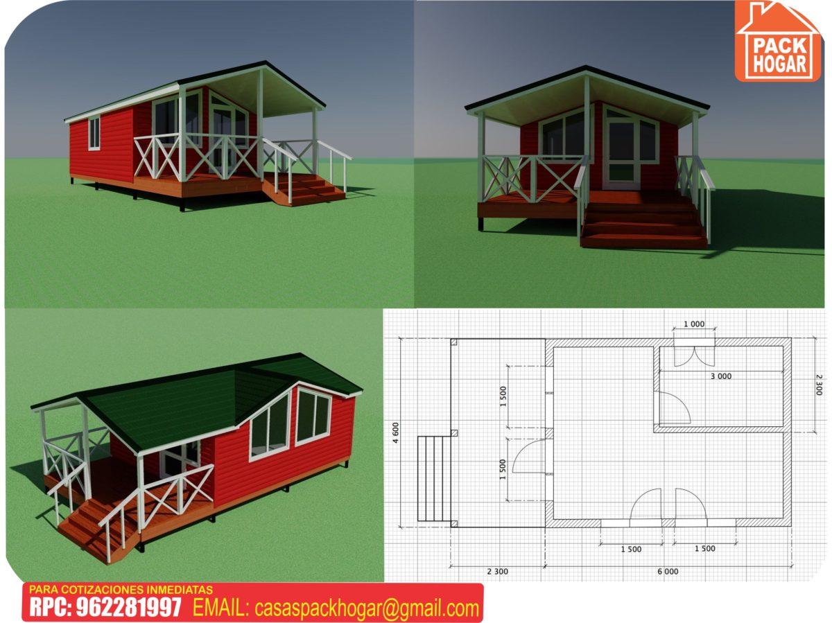 6 planos de casas de madera prefabricadas baratas  con 1, 2 y 3 dormitorios en Lima – Peru