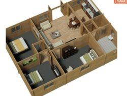 casa prefabricada de madera con 3 habitaciones