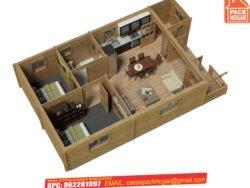 casa prefabricada de madera 2 habitaciones