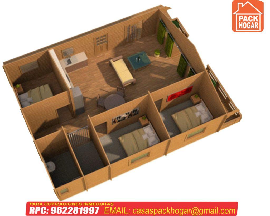plano de casa madera con tres dormitorios